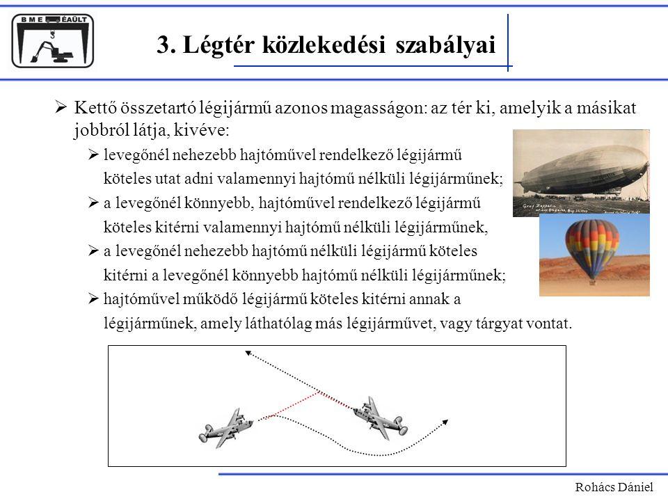 Rohács Dániel 3. Légtér közlekedési szabályai  Kettő összetartó légijármű azonos magasságon: az tér ki, amelyik a másikat jobbról látja, kivéve:  le