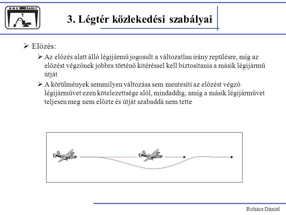 Rohács Dániel 3. Légtér közlekedési szabályai  Előzés:  Az előzés alatt álló légijármű jogosult a változatlan irány repülésre, míg az előzést végzőn