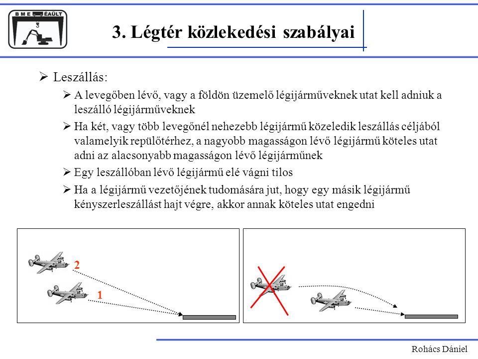 Rohács Dániel 3. Légtér közlekedési szabályai  Leszállás:  A levegőben lévő, vagy a földön üzemelő légijárműveknek utat kell adniuk a leszálló légij