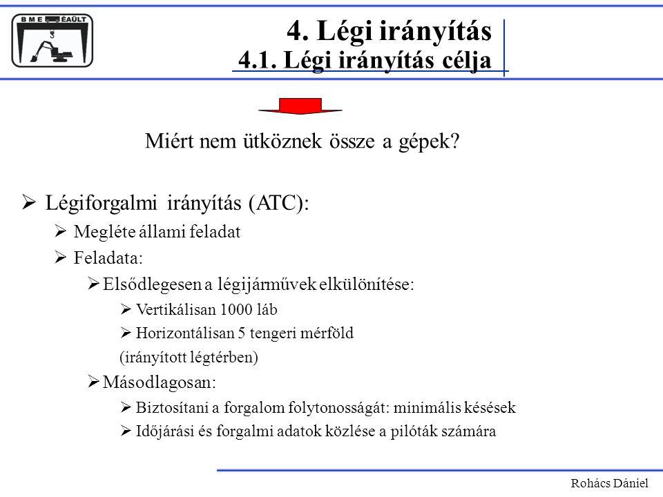 Rohács Dániel  Légiforgalmi irányítás (ATC):  Megléte állami feladat  Feladata:  Elsődlegesen a légijárművek elkülönítése:  Vertikálisan 1000 láb