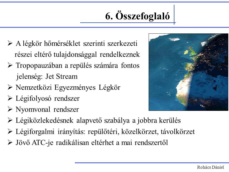6. Összefoglaló Rohács Dániel  A légkör hőmérséklet szerinti szerkezeti részei eltérő tulajdonsággal rendelkeznek  Tropopauzában a repülés számára f