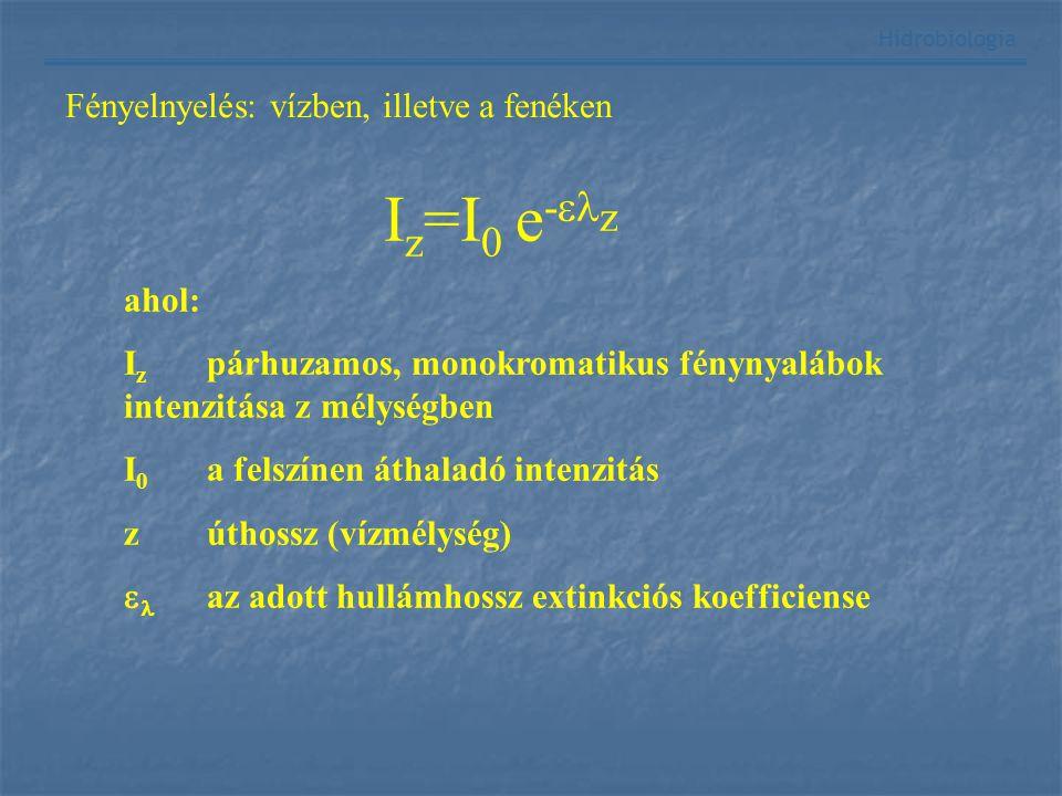 Hidrobiológia Fényelnyelés: vízben, illetve a fenéken I z =I 0 e -  z ahol: I z párhuzamos, monokromatikus fénynyalábok intenzitása z mélységben I 0