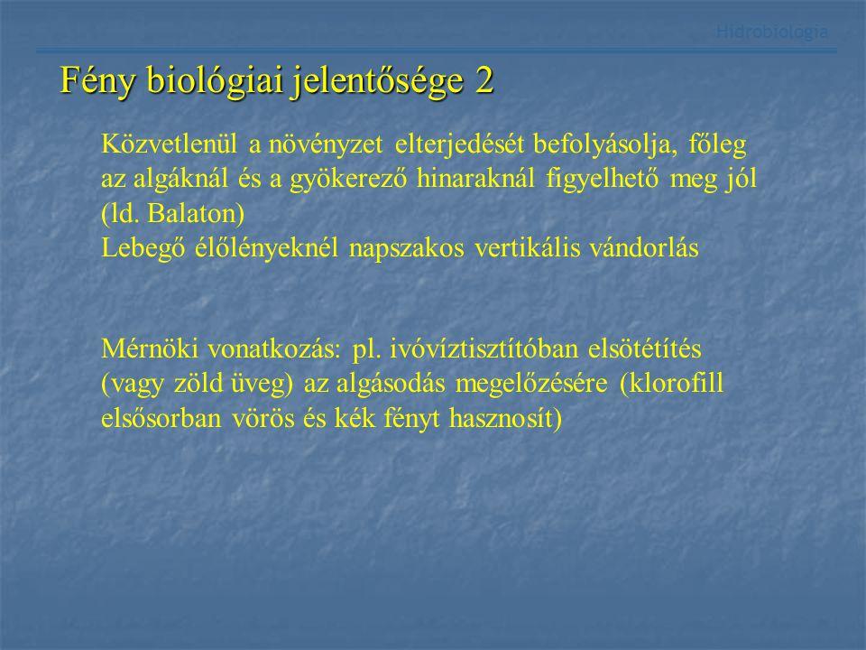Fény biológiai jelentősége 2 Hidrobiológia Közvetlenül a növényzet elterjedését befolyásolja, főleg az algáknál és a gyökerező hinaraknál figyelhető m
