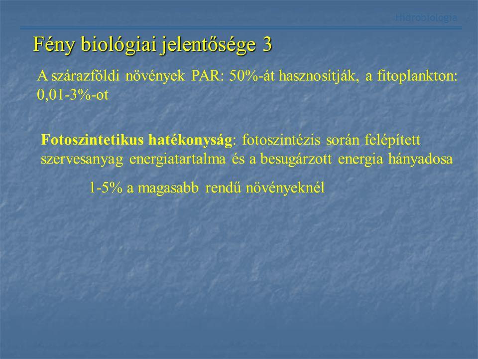 Fény biológiai jelentősége 3 Hidrobiológia A szárazföldi növények PAR: 50%-át hasznosítják, a fitoplankton: 0,01-3%-ot Fotoszintetikus hatékonyság: fo