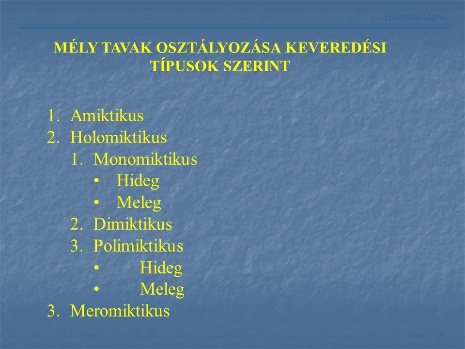 Hidrobiológia MÉLY TAVAK OSZTÁLYOZÁSA KEVEREDÉSI TÍPUSOK SZERINT 1.Amiktikus 2.Holomiktikus 1.Monomiktikus Hideg Meleg 2.Dimiktikus 3.Polimiktikus Hid