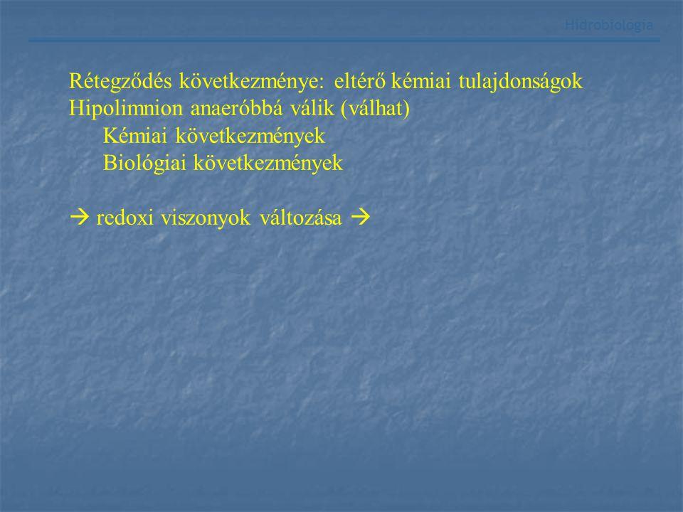 Hidrobiológia Rétegződés következménye: eltérő kémiai tulajdonságok Hipolimnion anaeróbbá válik (válhat) Kémiai következmények Biológiai következménye