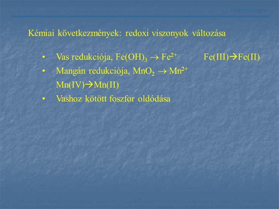 Hidrobiológia Kémiai következmények: redoxi viszonyok változása Vas redukciója, Fe(OH) 3  Fe 2+ Fe(III)  Fe(II) Mangán redukciója, MnO 2  Mn 2+ Mn(