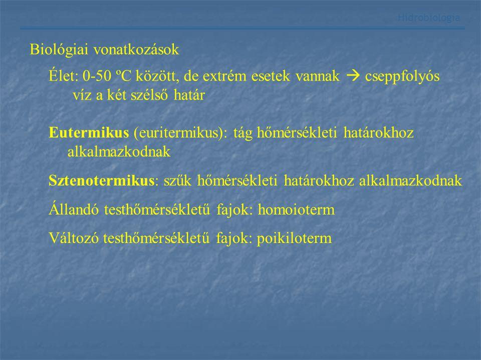 Hidrobiológia Biológiai vonatkozások Élet: 0-50 ºC között, de extrém esetek vannak  cseppfolyós víz a két szélső határ Eutermikus (euritermikus): tág