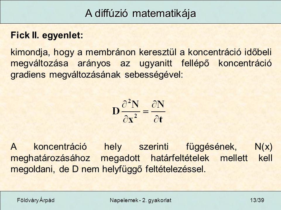 Földváry ÁrpádNapelemek - 2. gyakorlat13/39 A diffúzió matematikája Fick II.