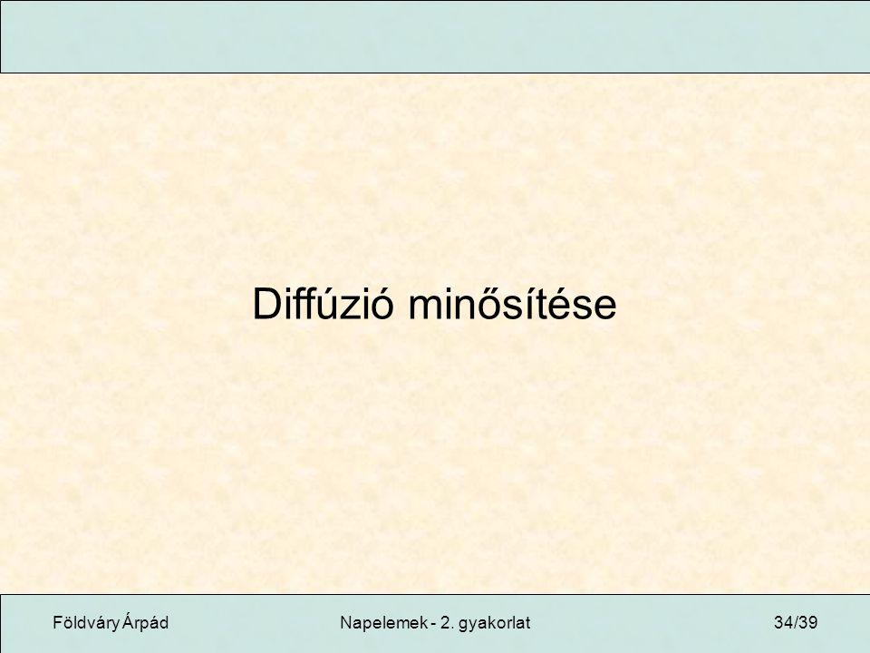 Földváry ÁrpádNapelemek - 2. gyakorlat34/39 Diffúzió minősítése