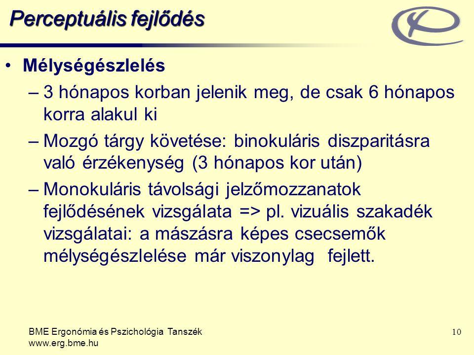 BME Ergonómia és Pszichológia Tanszék www.erg.bme.hu 10 Perceptuális fejlődés Mélységészlelés –3 hónapos korban jelenik meg, de csak 6 hónapos korra a