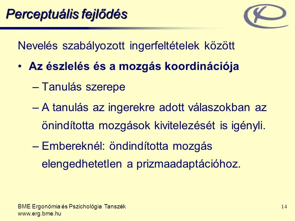 BME Ergonómia és Pszichológia Tanszék www.erg.bme.hu 14 Perceptuális fejlődés Nevelés szabályozott ingerfeltételek között Az észlelés és a mozgás koor