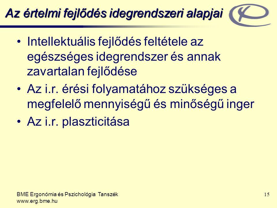 BME Ergonómia és Pszichológia Tanszék www.erg.bme.hu 15 Az értelmi fejlődés idegrendszeri alapjai Intellektuális fejlődés feltétele az egészséges ideg