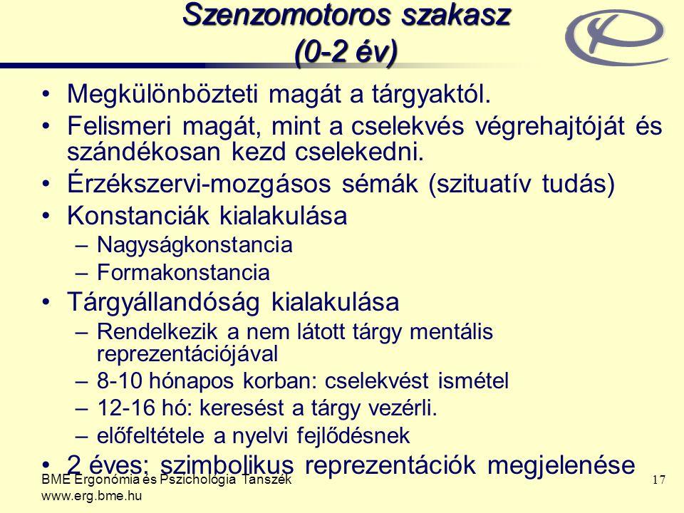 BME Ergonómia és Pszichológia Tanszék www.erg.bme.hu 17 Szenzomotoros szakasz (0-2 év) Megkülönbözteti magát a tárgyaktól. Felismeri magát, mint a cse