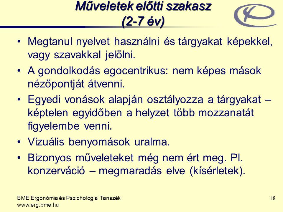 BME Ergonómia és Pszichológia Tanszék www.erg.bme.hu 18 Műveletek előtti szakasz (2-7 év) Megtanul nyelvet használni és tárgyakat képekkel, vagy szava