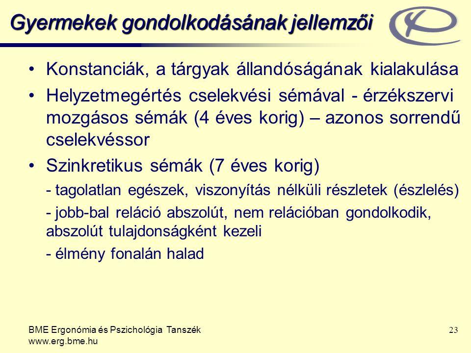 BME Ergonómia és Pszichológia Tanszék www.erg.bme.hu 23 Gyermekek gondolkodásának jellemzői Konstanciák, a tárgyak állandóságának kialakulása Helyzetm