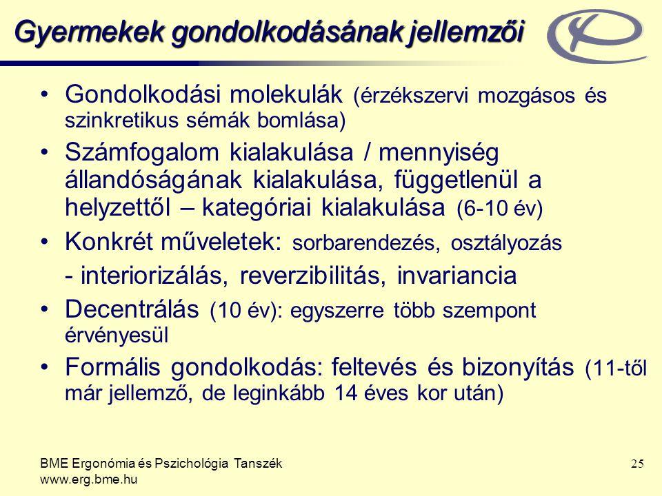 BME Ergonómia és Pszichológia Tanszék www.erg.bme.hu 25 Gyermekek gondolkodásának jellemzői Gondolkodási molekulák (érzékszervi mozgásos és szinkretik