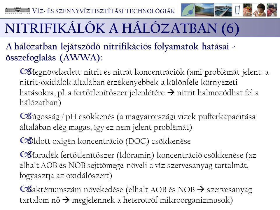 NITRIFIKÁLÓK A HÁLÓZATBAN (6) A hálózatban lejátszódó nitrifikációs folyamatok hatásai - összefoglalás (AWWA):  Megnövekedett nitrit és nitrát koncen