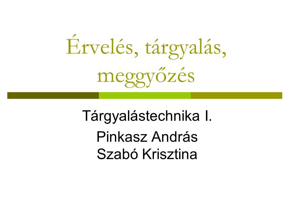 Érvelés, tárgyalás, meggyőzés Tárgyalástechnika I. Pinkasz András Szabó Krisztina