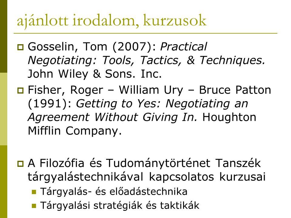 ajánlott irodalom, kurzusok  Gosselin, Tom (2007): Practical Negotiating: Tools, Tactics, & Techniques.
