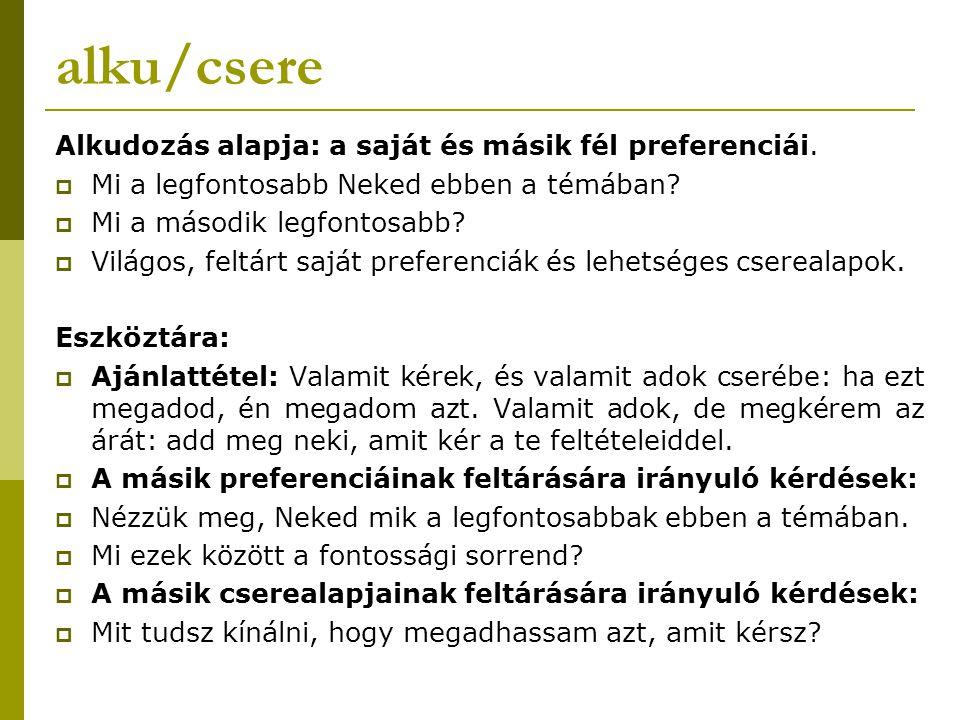 alku/csere Alkudozás alapja: a saját és másik fél preferenciái.