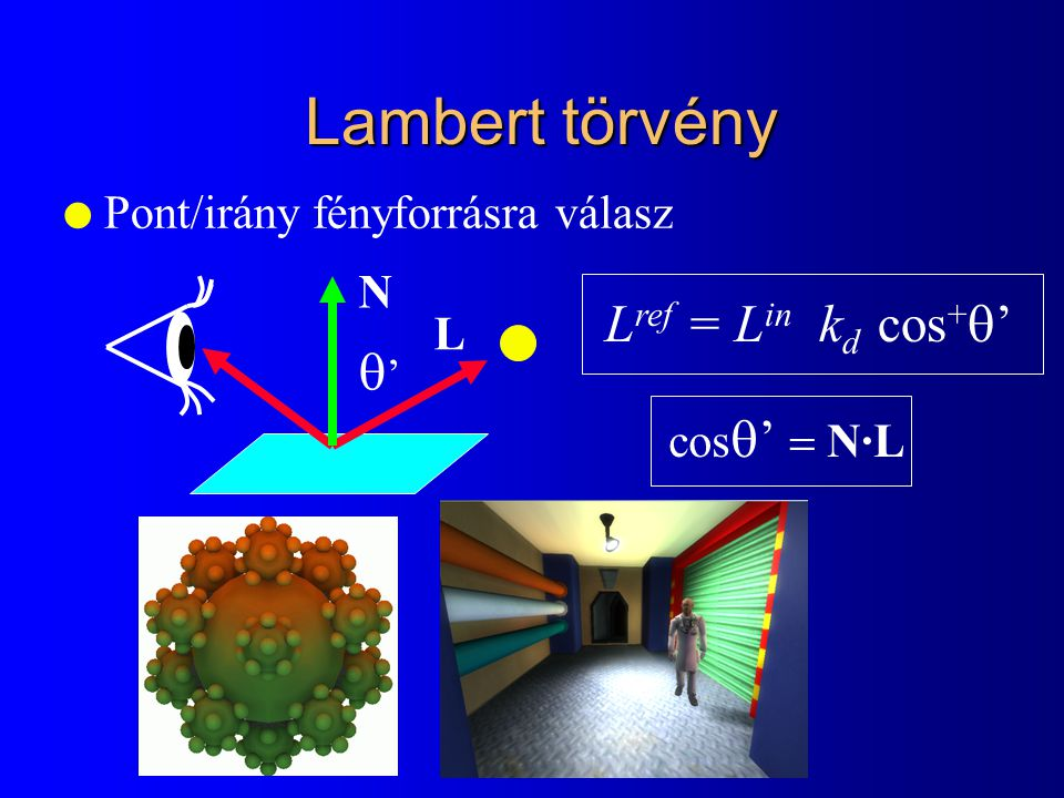 Lambert törvény l Pont/irány fényforrásra válasz L ref = L in k d cos +  ' '' L N cos  '  N·L