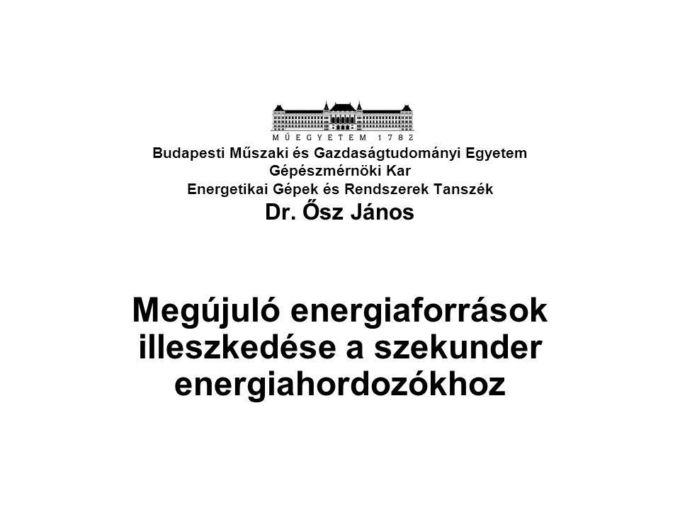 Budapesti Műszaki és Gazdaságtudományi Egyetem Gépészmérnöki Kar Energetikai Gépek és Rendszerek Tanszék Dr. Ősz János Megújuló energiaforrások illesz