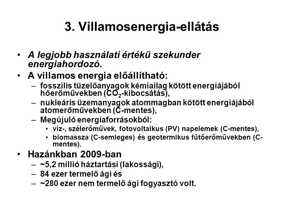 3. Villamosenergia-ellátás A legjobb használati értékű szekunder energiahordozó. A villamos energia előállítható: –fosszilis tüzelőanyagok kémiailag k