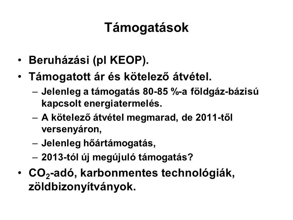 Támogatások Beruházási (pl KEOP). Támogatott ár és kötelező átvétel. –Jelenleg a támogatás 80-85 %-a földgáz-bázisú kapcsolt energiatermelés. –A kötel