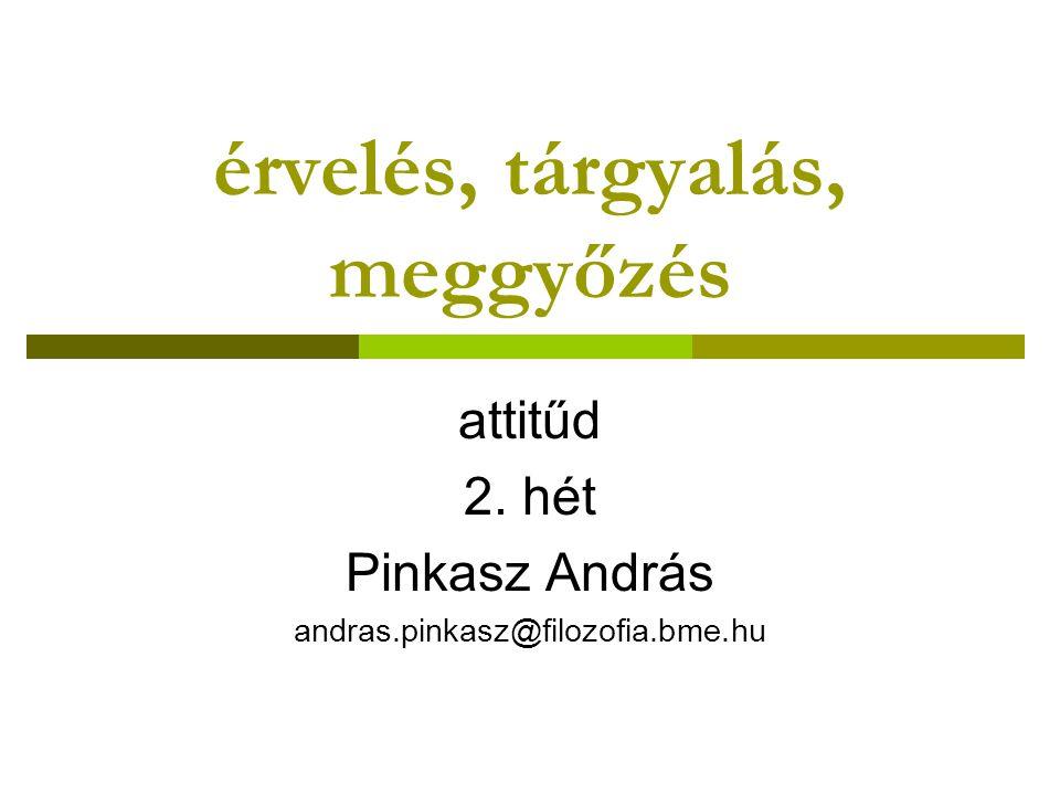 érvelés, tárgyalás, meggyőzés attitűd 2. hét Pinkasz András andras.pinkasz@filozofia.bme.hu