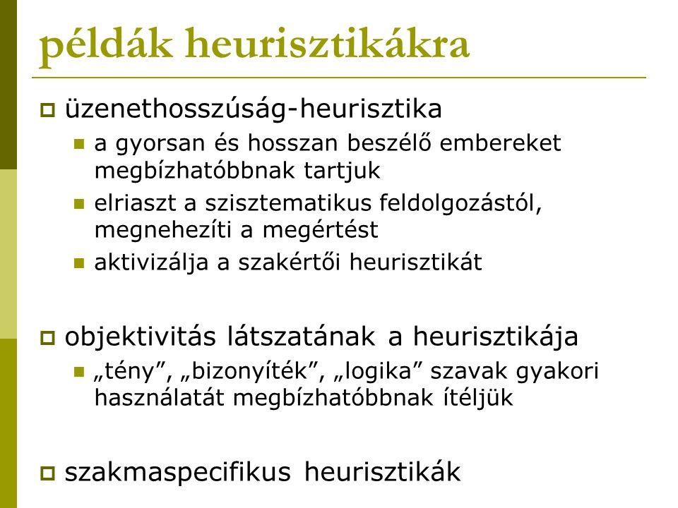 példák heurisztikákra  üzenethosszúság-heurisztika a gyorsan és hosszan beszélő embereket megbízhatóbbnak tartjuk elriaszt a szisztematikus feldolgoz