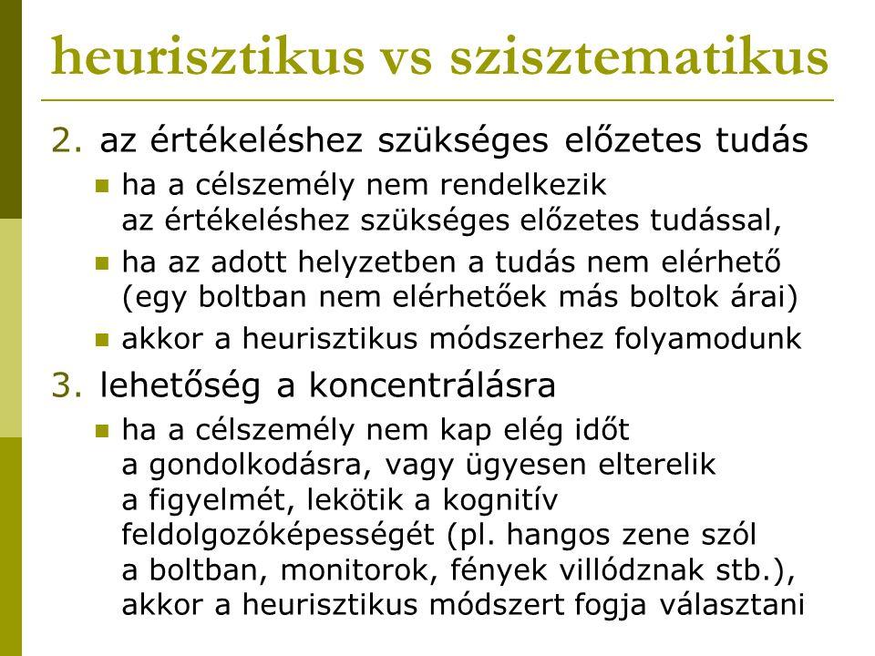 heurisztikus vs szisztematikus 2.az értékeléshez szükséges előzetes tudás ha a célszemély nem rendelkezik az értékeléshez szükséges előzetes tudással,