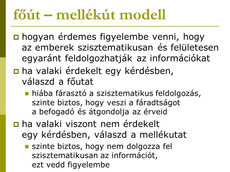 főút – mellékút modell  hogyan érdemes figyelembe venni, hogy az emberek szisztematikusan és felületesen egyaránt feldolgozhatják az információkat 