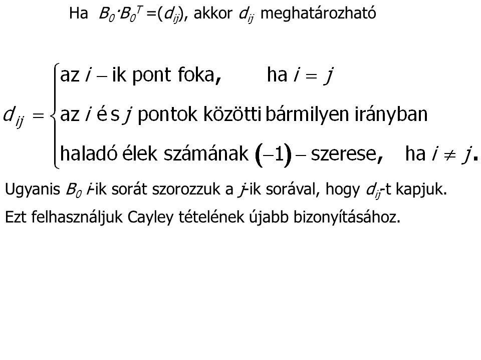 Ha B 0 ·B 0 T =(d ij ), akkor d ij meghatározható Ugyanis B 0 i-ik sorát szorozzuk a j-ik sorával, hogy d ij -t kapjuk. Ezt felhasználjuk Cayley tétel