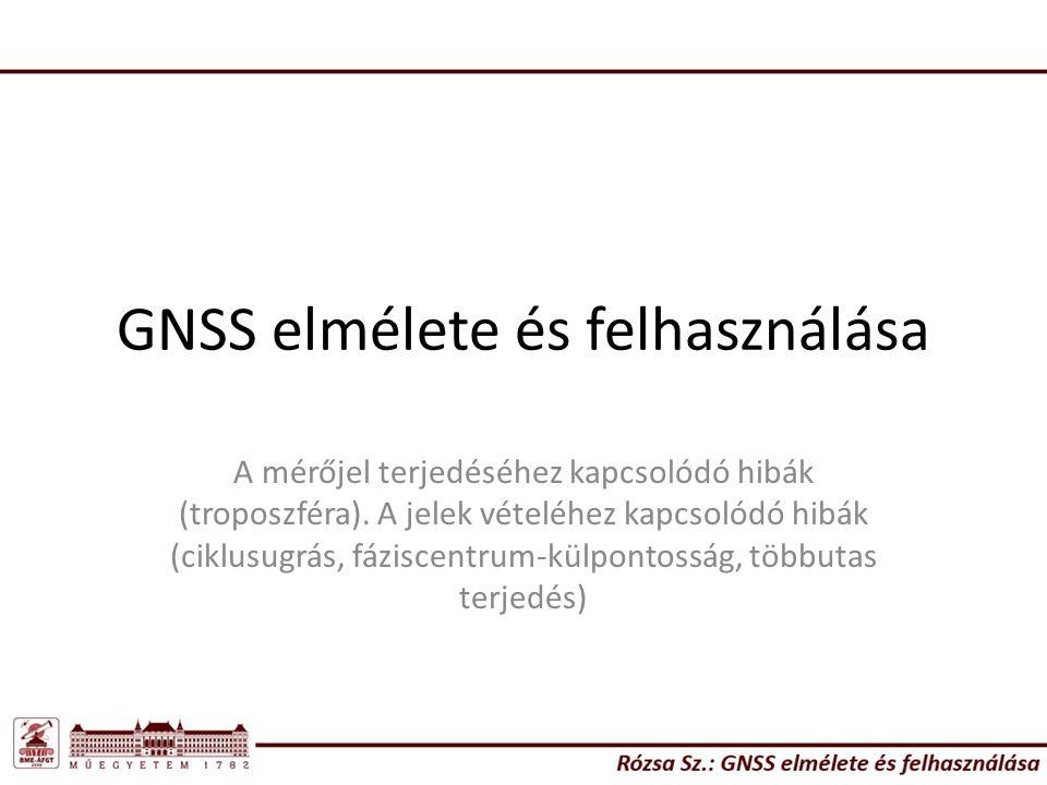 GNSS elmélete és felhasználása A mérőjel terjedéséhez kapcsolódó hibák (troposzféra).