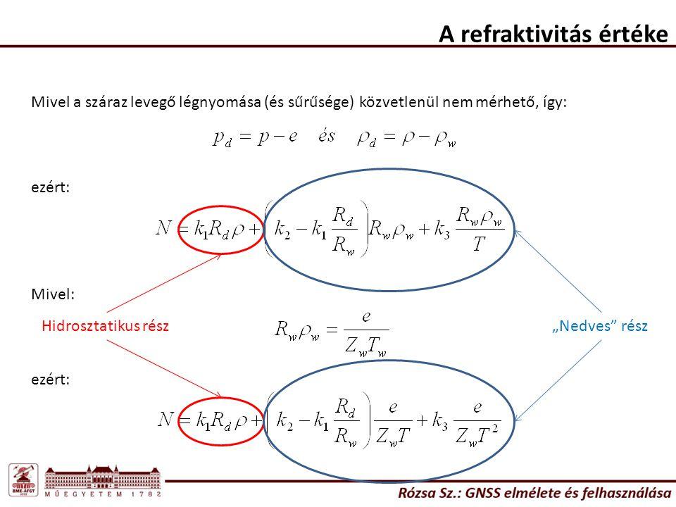 """A refraktivitás értéke Mivel a száraz levegő légnyomása (és sűrűsége) közvetlenül nem mérhető, így: ezért: Mivel: ezért: Hidrosztatikus rész """"Nedves rész"""