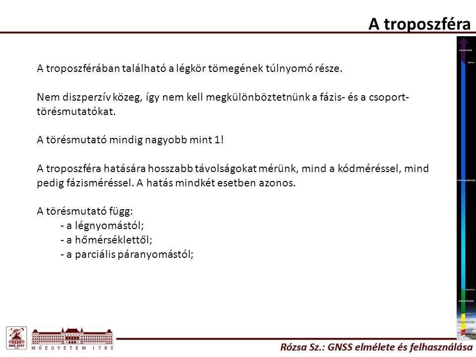 A troposzféra A troposzférában található a légkör tömegének túlnyomó része.