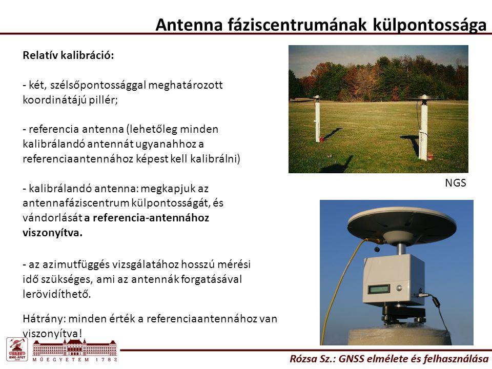 Relatív kalibráció: - két, szélsőpontossággal meghatározott koordinátájú pillér; - referencia antenna (lehetőleg minden kalibrálandó antennát ugyanahhoz a referenciaantennához képest kell kalibrálni) - kalibrálandó antenna: megkapjuk az antennafáziscentrum külpontosságát, és vándorlását a referencia-antennához viszonyítva.