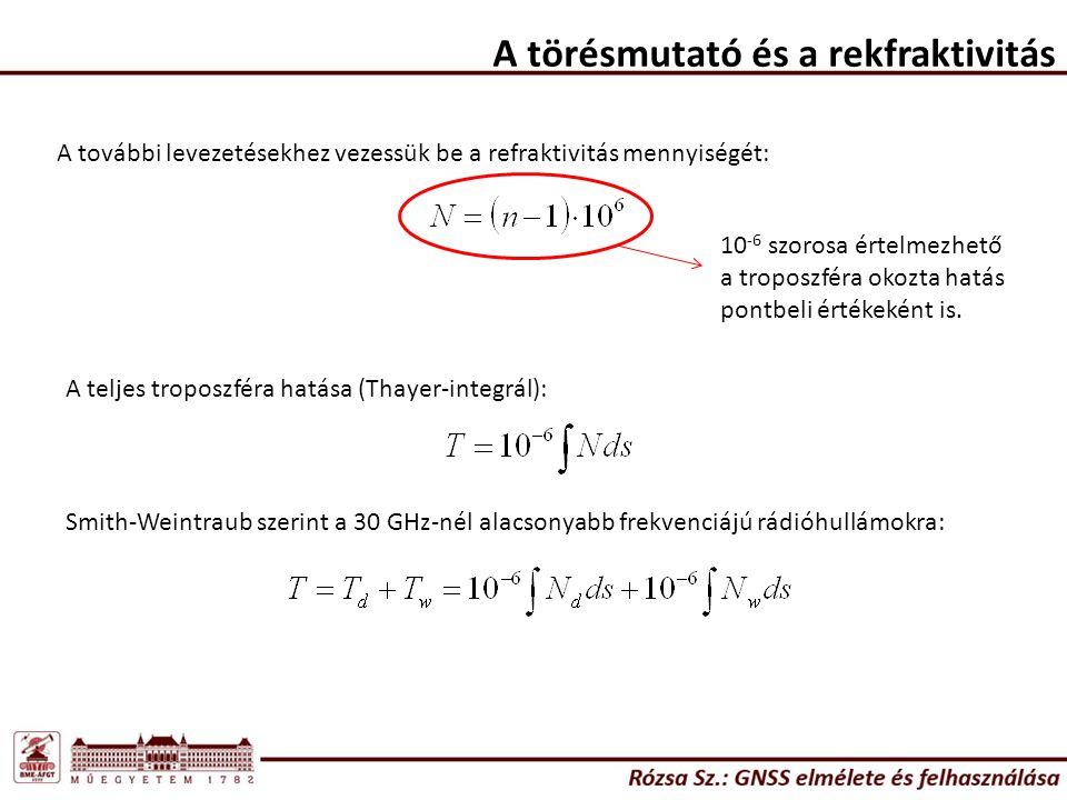 A törésmutató és a rekfraktivitás A további levezetésekhez vezessük be a refraktivitás mennyiségét: 10 -6 szorosa értelmezhető a troposzféra okozta hatás pontbeli értékeként is.