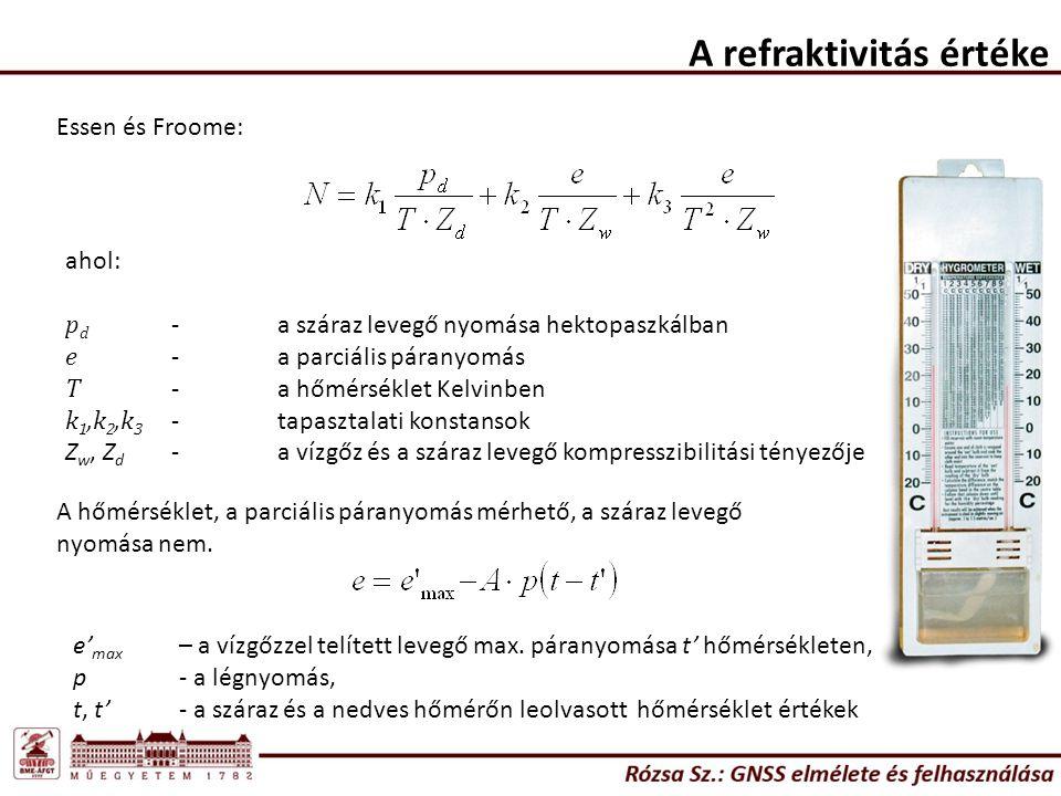 A refraktivitás értéke Essen és Froome: ahol: p d -a száraz levegő nyomása hektopaszkálban e -a parciális páranyomás T -a hőmérséklet Kelvinben k 1,k 2,k 3 -tapasztalati konstansok Z w, Z d -a vízgőz és a száraz levegő kompresszibilitási tényezője A hőmérséklet, a parciális páranyomás mérhető, a száraz levegő nyomása nem.