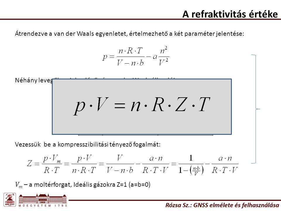 A refraktivitás értéke gáz a (dm 6 bar/mol 2 ) b dm 3 /mol N21,4080,03913 O21,3780,03183 H20,24760,02661 Víz5,5360,03049 Átrendezve a van der Waals egyenletet, értelmezhető a két paraméter jelentése: Néhány levegőben jelen lévő gáz van der Waals állandója: Vezessük be a kompresszibilitási tényező fogalmát: V m – a moltérforgat, Ideális gázokra Z=1 (a=b=0)