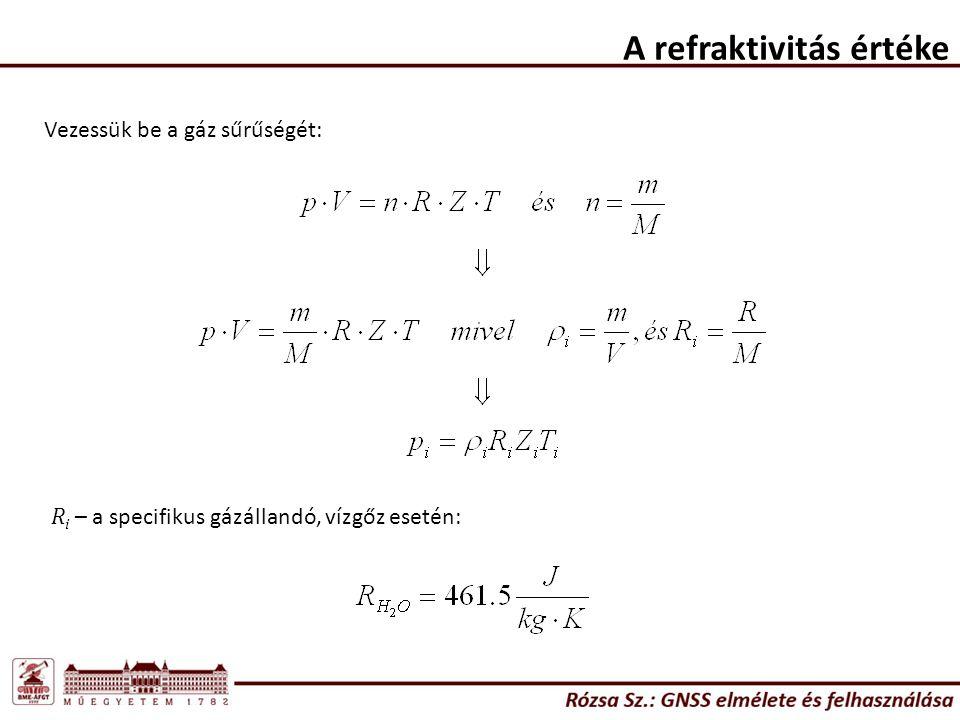 A refraktivitás értéke Vezessük be a gáz sűrűségét: R i – a specifikus gázállandó, vízgőz esetén: