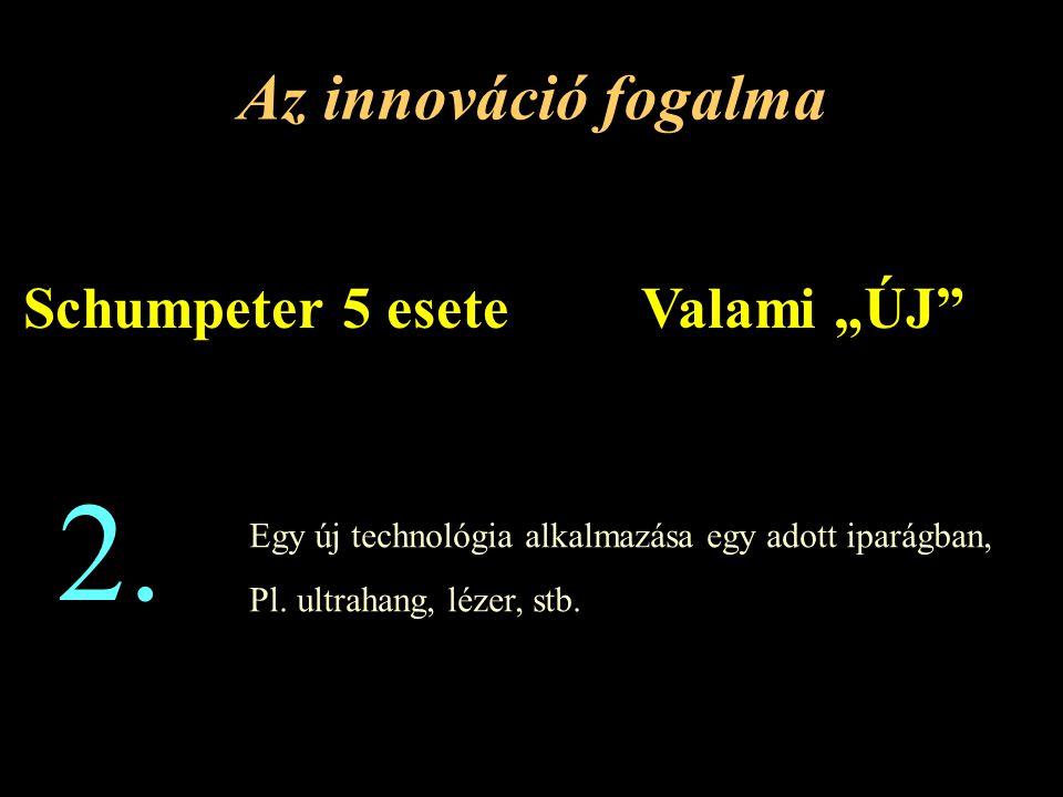 """Az innováció fogalma Valami """"ÚJ Schumpeter 5 esete Egy új technológia alkalmazása egy adott iparágban, Pl."""