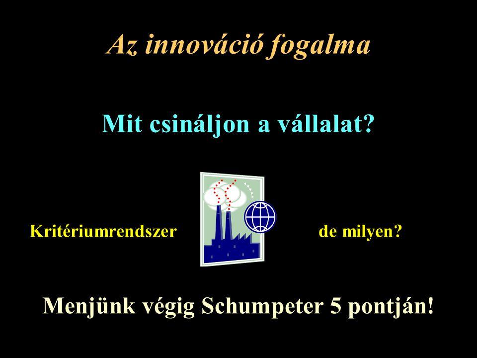 Az innováció fogalma Mit csináljon a vállalat.Kritériumrendszerde milyen.