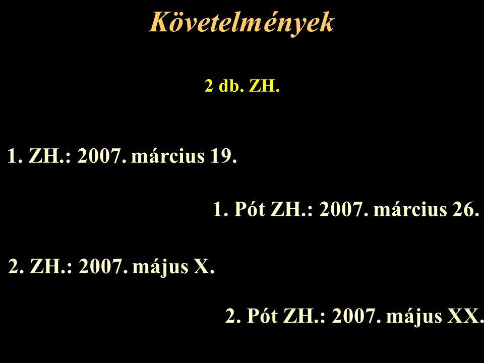 Követelmények 2 db.ZH. 1. ZH.: 2007. március 19. 2.