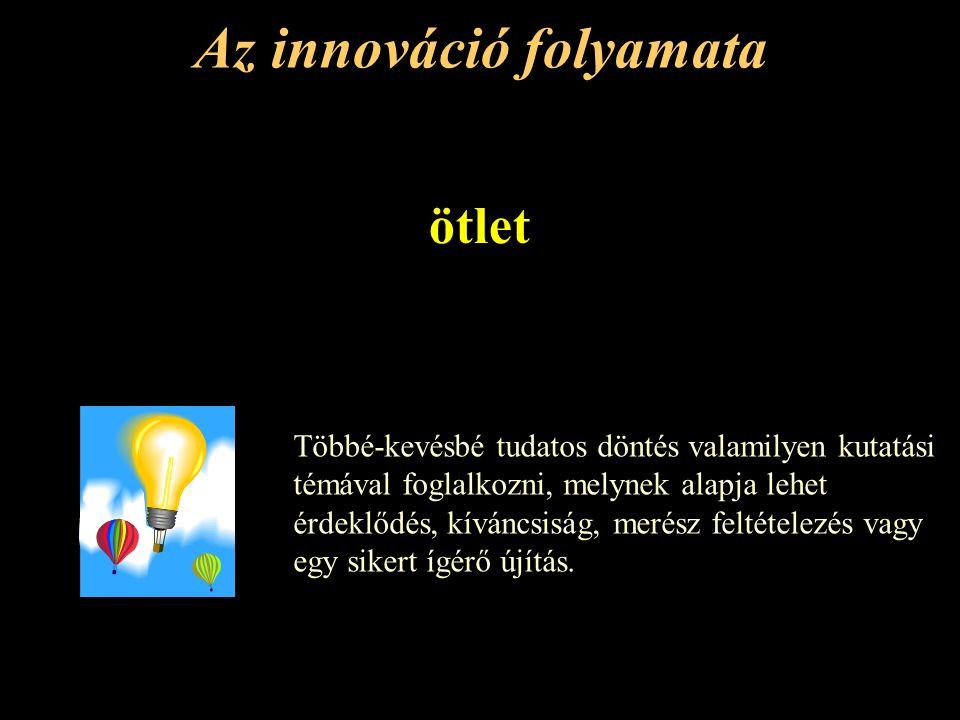 Az innováció folyamata ötlet Többé-kevésbé tudatos döntés valamilyen kutatási témával foglalkozni, melynek alapja lehet érdeklődés, kíváncsiság, merész feltételezés vagy egy sikert ígérő újítás.