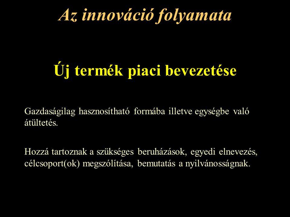 Az innováció folyamata Új termék piaci bevezetése Gazdaságilag hasznosítható formába illetve egységbe való átültetés.