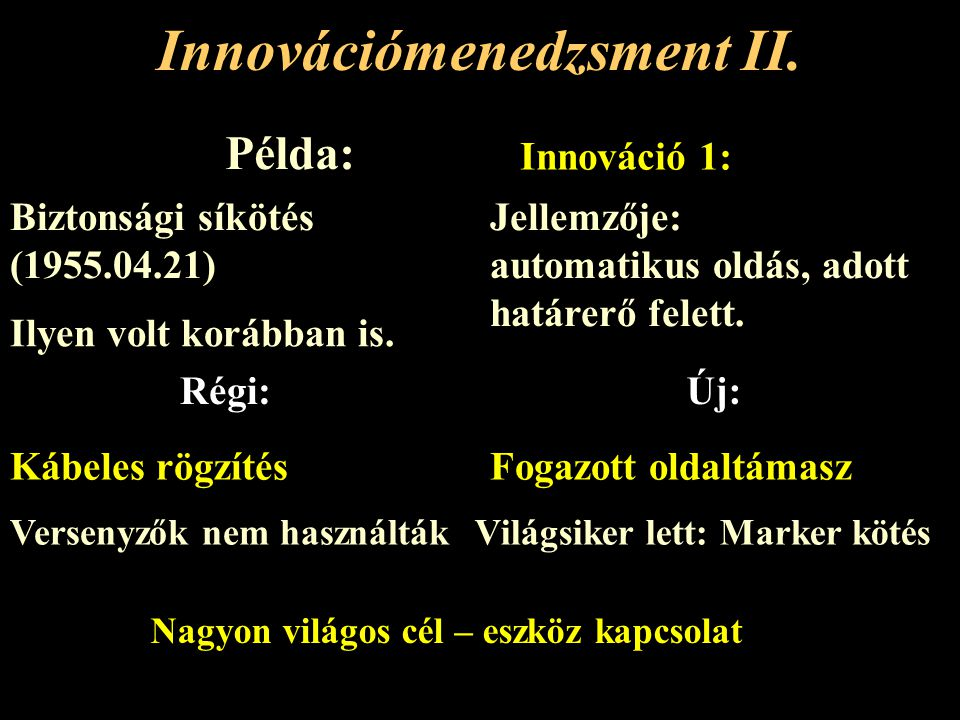 Innovációs stratégiák Innováció imitálása Piacra lépés akadálya okamegkerülése Economies of ScaleTermelékenységből eredő költségelőny Jó értékesítési rendszer megléte Direkt: technológiai beruházás Indirekt: más paraméterrel ellensúlyozni pl.