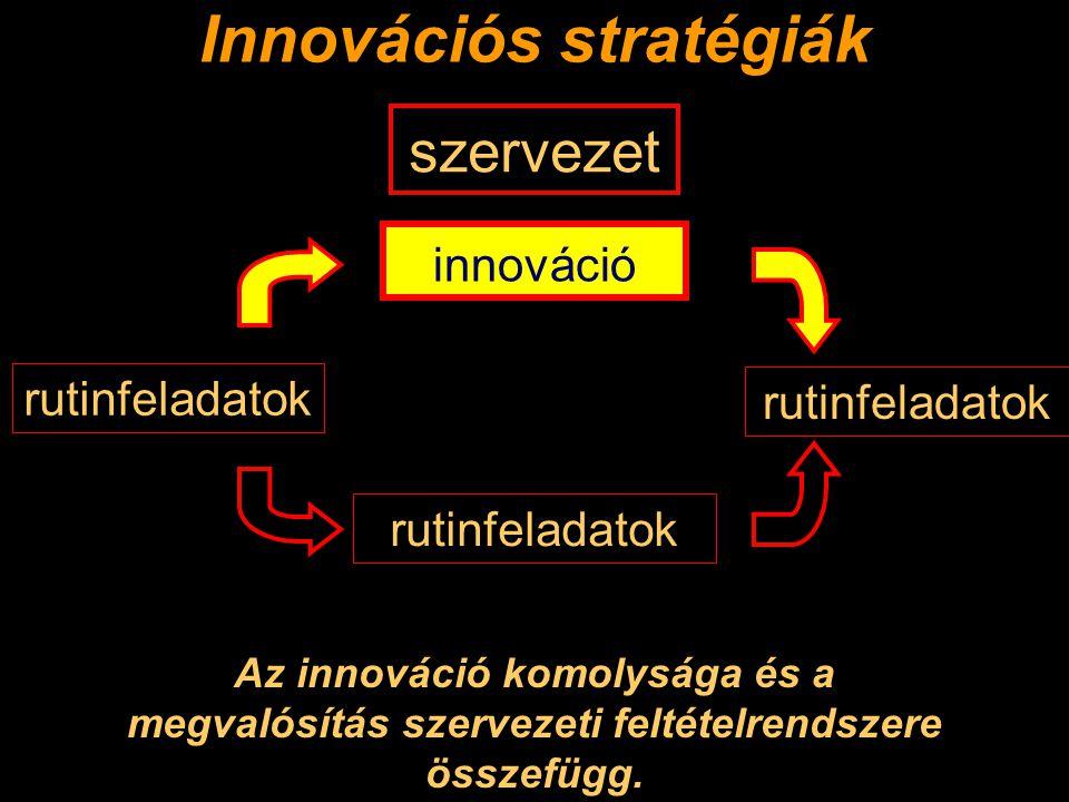 Innovációs stratégiák Az innováció komolysága és a megvalósítás szervezeti feltételrendszere összefügg.
