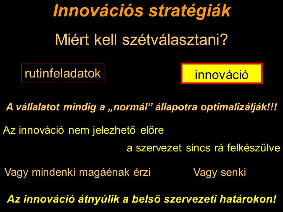 """Innovációs stratégiák A vállalatot mindig a """"normál állapotra optimalizálják!!."""